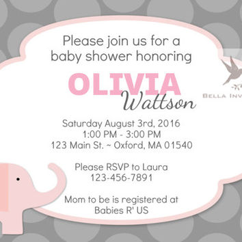 Baby Elephant Pink Baby Shower Invite (Digital File)