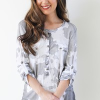 Rolled Sleeve Tie Dye Button Top