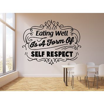 Vinyl Wall Decal Healthy Eat Words Kitchen Decor Home Eating Well Stickers Mural (g1032)