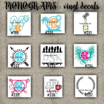 MONOGRAM vinyl decals | name | initial | decal | sticker | car decals | car stickers | laptop sticker - 199-207