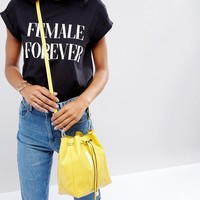 ASOS Patent Minimal Bucket Bag With Detachable Straps at asos.com