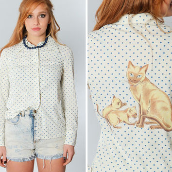 Cat Blouse | Lucky Pierre Brand Size Medium White and Blue 90s Graphic Kitty Kitten Long Sleeve T Shirt Top Button Down Animal Spotted | 15G