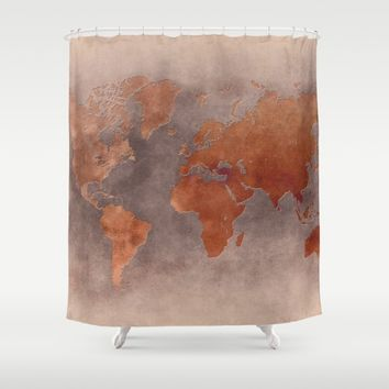 World map 7 brown Shower Curtain by jbjart