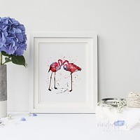 Flamingos Watercolor Art Print