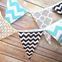 Bunting Banner Sign Nautical Boys Room Grey Aqua Navy Blue Birthday Party Wedding baby party