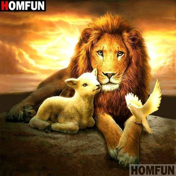 5D Diamond Painting Lion, Lamb and a Dove Kit