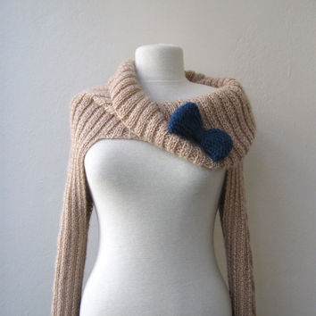 Knit Turtleneck Shrug-cable pattern-beige mohair-long sleeves-EXPRESS SHIPPING-with bow brooch-valentines day-gift guide,fashion