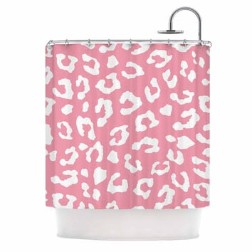"Wildlife ""Pink Animal Print 1"" Rose White Shower Curtain"