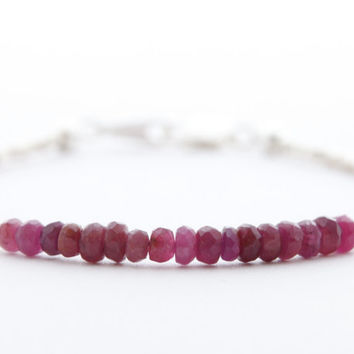 Ruby bracelet red genuine gemstone beaded bracelet