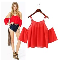 Stylish Spaghetti Strap Strapless Chiffon Women's Fashion Tops T-shirts [6046832385]