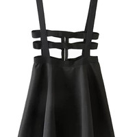 Black Lattice Cut Out High Waisted Shoulder-straps Skater Skirt