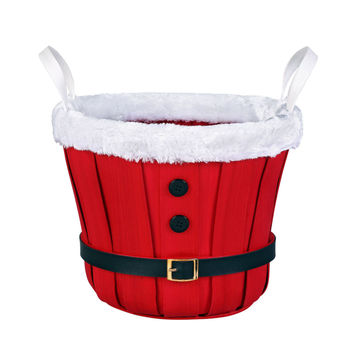 Santa Bushel Basket With Fur Trim By Celebrate It®