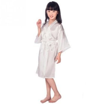 Comfortable Baby Girls sleeve Sleepwear children Robes Silk Summer medium sleeve Sleepwear Satin Kimono Bathrobe