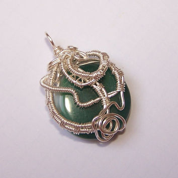 Free Form Wrapped Pendant, Wire Wrapped Pendant, Natural Agate Wrapped , OOAK Pendant, Stone Setting