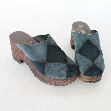 Vintage 70s Blue Diamond Suede Platform Clogs // Women's Wood & Cork Wedges Sz 7 1/2