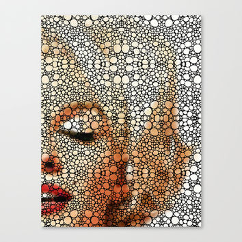 Marilyn Monroe - Stone Rock'd Art Painting Canvas Print by Sharon Cummings