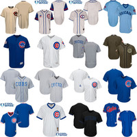 Mens Chicago Cubs Blank Jersey Black Blue Cool Base Stitched Authentic Baseball Jerseys stitched S-4XL