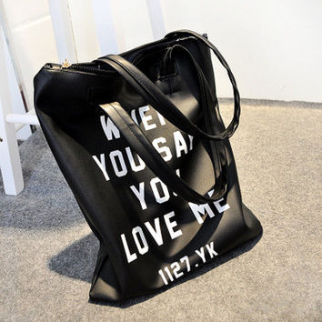 Simple Design Stylish Alphabet Soft PU Leather One Shoulder Bags [6582518279]