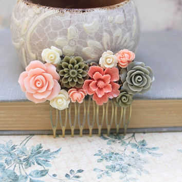 Bridal Hair Comb Pink Peach Rose Cream Rose Khaki Green Floral Collage Country Flower Spring Wedding Hair Accessories