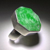Apple Green Jadeite Sterling Silver Ring, Carved Chinese Yin-Yang, Vintage Sz 7.25