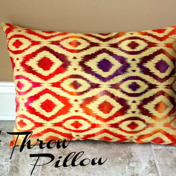 Multi-Colored Ikat Throw Pillow, Decorative Pillow, Home decor, Sofa Pillow, Couch Pillow **FREE SHIPPING**