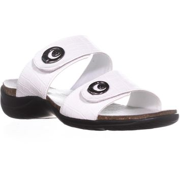 Easy Street Dory Slide On Sandals, White Crocodile, 8 US