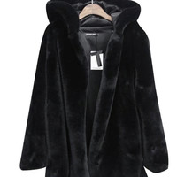 Black Turtle Neck Fur Coat