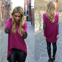 Plain Patchwork Sleeve Shirt