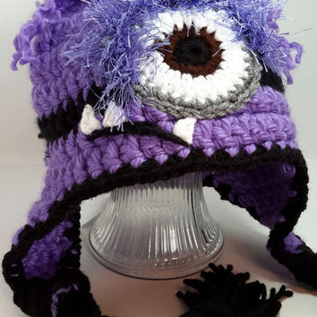 Angry minion hat. Inspired. Purple minion inspired. Made by Bead Gs on Etsy.