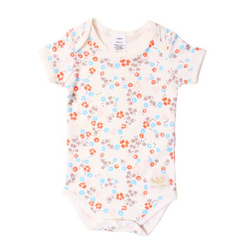 Organic white floral Short sleeve bodysuit
