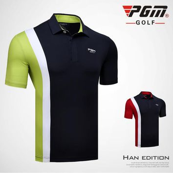 PGM Golf T-shirt For Men Quick Dry 2018 New Turn-down Collar Men's Sports Golf Trainning T-shirt Breathable Brand Polo Shirt