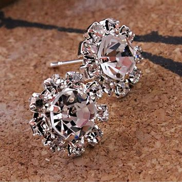 Lucky Sunflower Fashion Rhinestone Bead Flower Ear Studs