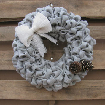 Burlap Winter Wreath, Rustic Front Door Decor