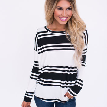 Black/White Multi Stripe Top