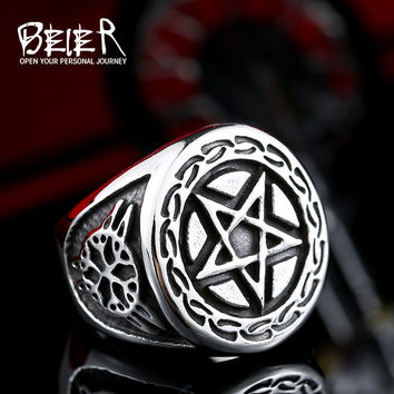 Beier new store 316L Stainless Steel ring high quality pentagram punk Biker ring for men  fashion jewelry LLBR8-371R