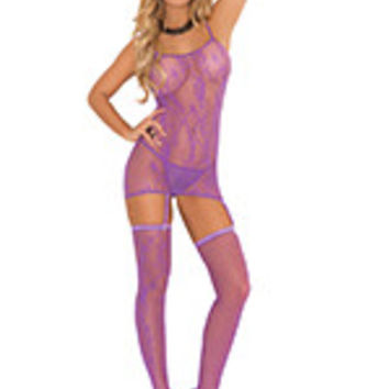Three piece set. Floral pattern fishnet camisette, g-string and stockings.