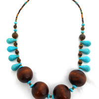Wood, bronze metal and blue turquoise stone necklace.