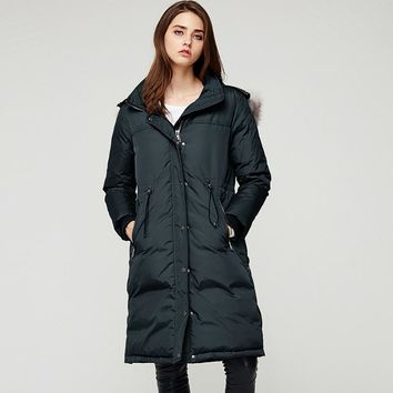 Fox Fur Collar Women Down Coats Solid Color Zipper and Button Thick Duck Down Winter Coat