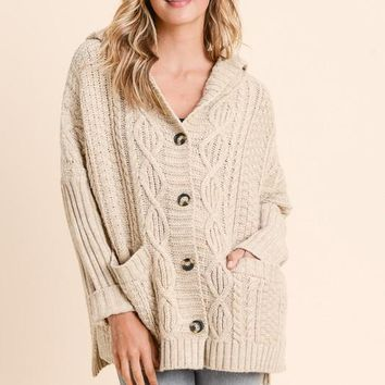 Taupe Button-Up Hooded Cardigan