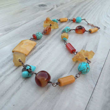 Stone Nugget Necklace, Chunky Statement Necklace, Amber, Carnelian, Turquoise Stone