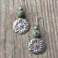 Boho Silver and Turquoise Flower Stamped Earrings