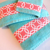 You Pick Size Aqua and Coral towels, aqua towels, aqua and coral, bath towel sets, hand towels, custom towels, august ave, coral bathroom,