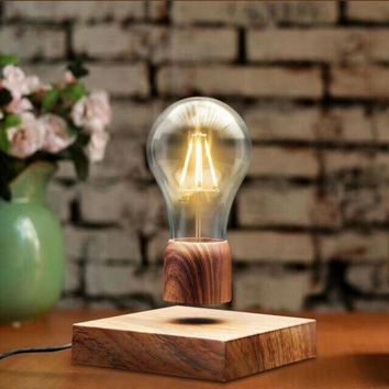 Magnetic Wood Levitating Floating Bulb Wireless Lamp Home Decor Office Room Desk Night Light Tech Gifts Toys US/EU/UK/AU Plug