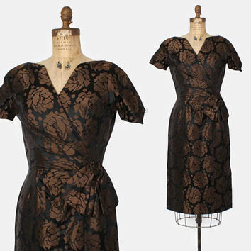 Vintage 60s Estevez DRESS / 1960s Designer Brown & Black Roses Brocade Floral Cocktail Dress M