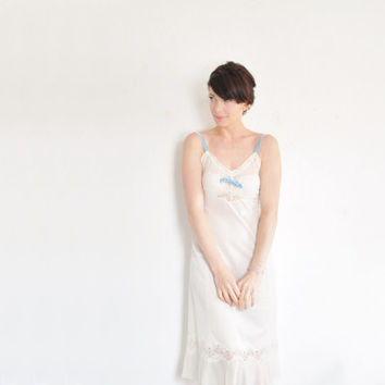 something blue 1940 lingerie slip dress . for art deco brides .extra small.small.xs