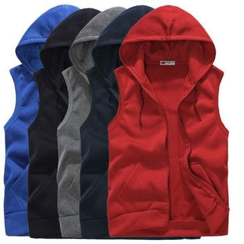 Men Casual Sleeveless Zip Up Hooded Sweatshirt Sport Hoodies Vest Coat Waistcoat