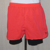 Vintage Super Rare 80s NEON PUMA TENNIS Nike Challenge Court Style Lined Athletic Sports Work Out Medium Rad Shorts
