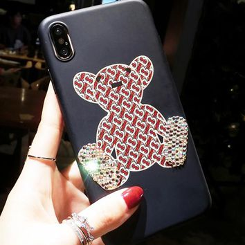 Burberry New fashion diamond more letter print couple protective case phone case