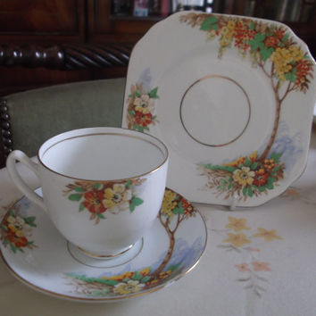 REDUCED: Vintage Duchess China hand painted tea cup, saucer & plate ( tea trio). Ideal gift, tea shop, celebration or display