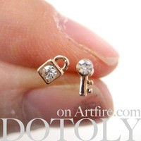 Tiny Lock and Key Stud Earrings with Rhinestone Detail in Light Bronze | dotoly ArtFire Gallery